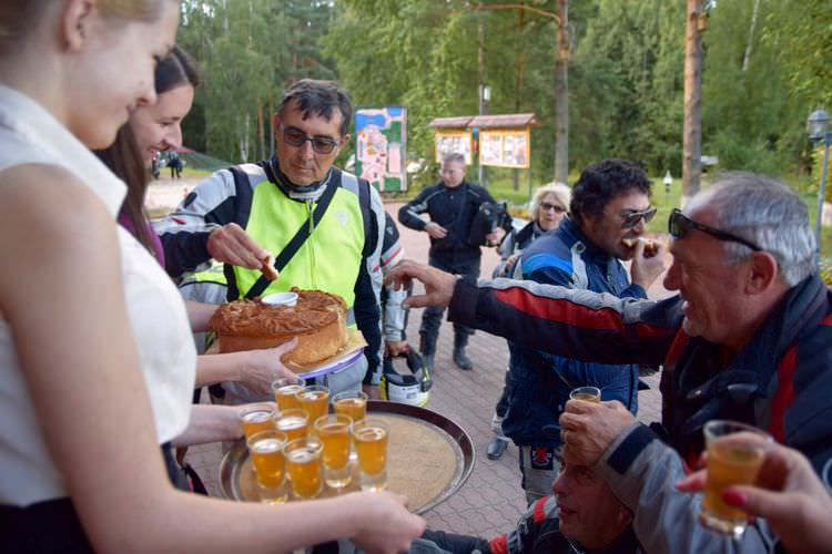 Mototravelers and russian bread