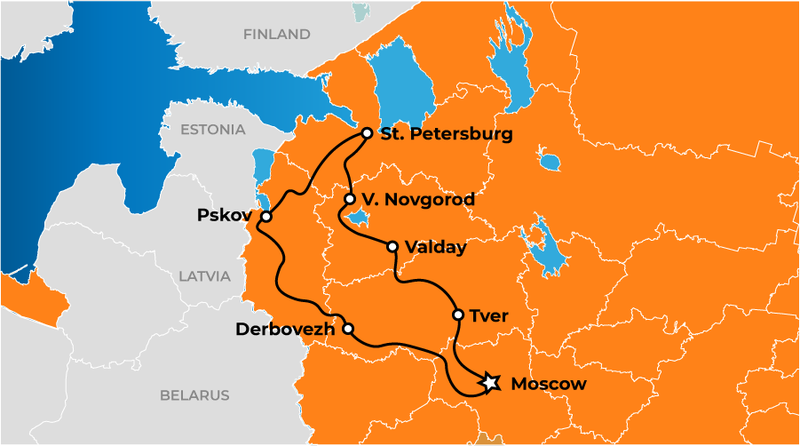 Moscow-SAint-Petersburg Tour Map
