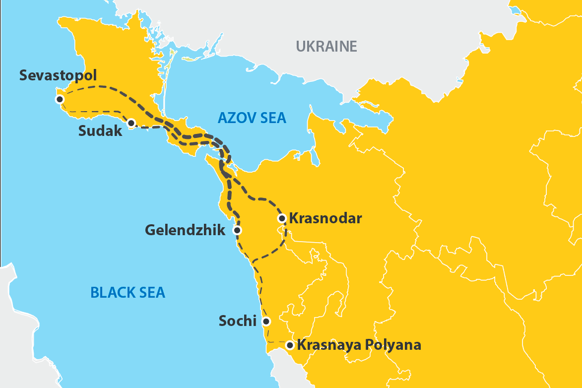 What is the best way to overcome the route Sevastopol - Krasnodar